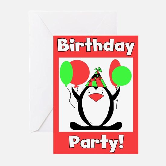 Party Penguin Invites Greeting Cards (Pk of 10)