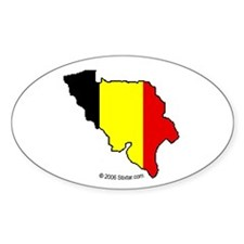 Belgium National Flag Outline Oval Decal