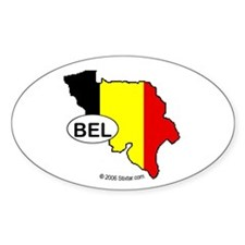 Belgium-mini National Flag Outline Oval Decal