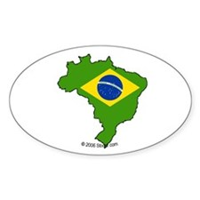 Brazil National Flag Outline Oval Decal