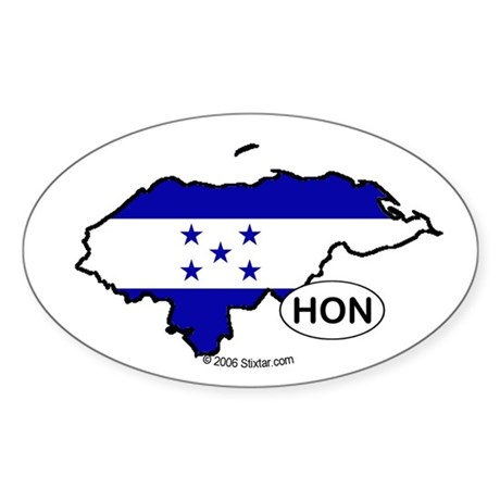 Honduras-mini National Flag Outline Oval Sticker