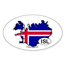 Iceland-mini National Flag Outline Oval Decal