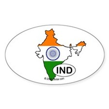India-mini National Flag Outline Oval Decal