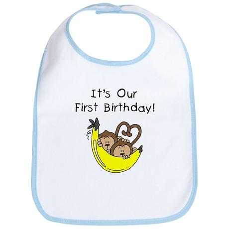 Twin Boys 1st Birthday Bib