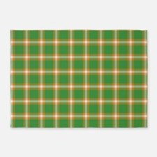 Green Orange Plaid 5'x7'Area Rug