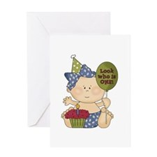 Girl Look Who Is One Greeting Card