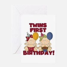 Twins 1st Birthday Girls Greeting Card