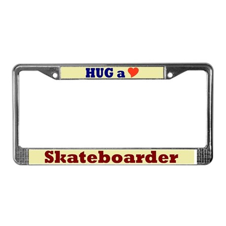 Hug a Skateboarder License Plate Frame