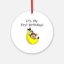 Boy Monkey 1st Birthday Ornament (Round)