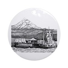 At Work on the Columbia Ornament (Round)