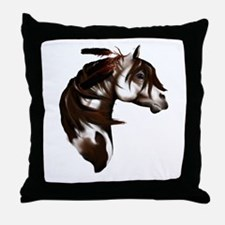 Feathered Paint Horse Throw Pillow