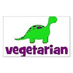 Vegetarian - Dinosaur Sticker (Rectangle 50 pk)