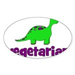 Vegetarian - Dinosaur Sticker (Oval 50 pk)