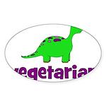 Vegetarian - Dinosaur Sticker (Oval 10 pk)