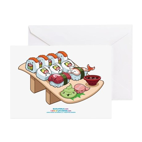 Kawaii California Roll and Sushi Nigiri Greeting C