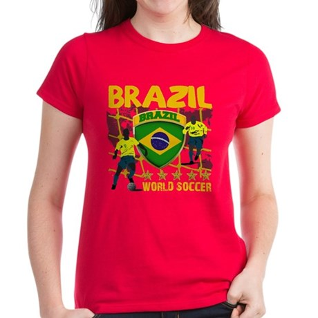Brazil Brasil Futebol 2010 Women's Dark T-Shirt
