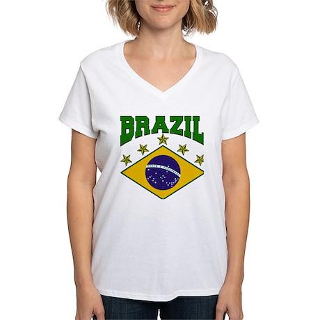 Brazil Soccer Flag 2010 Women's V-Neck T-Shirt