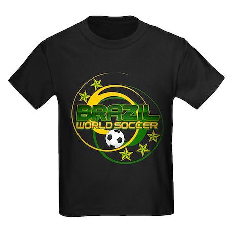 Brazil 5 Star World Soccer Kids Dark T-Shirt