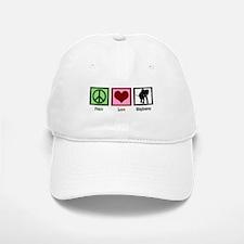 Peace Love Elephants Baseball Baseball Cap