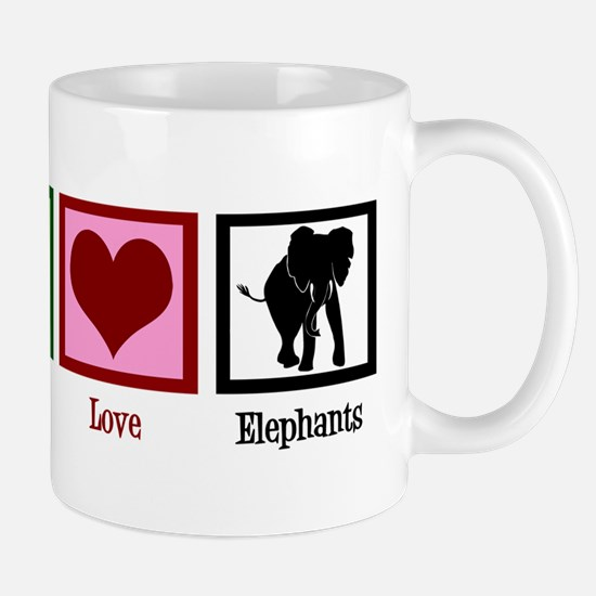 Peace Love Elephants Mug