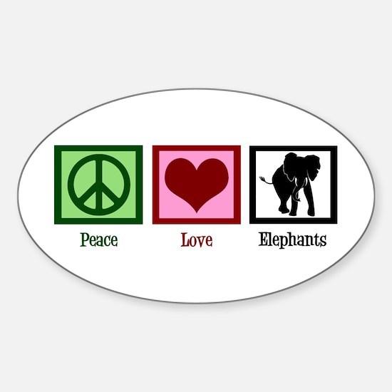 Peace Love Elephants Sticker (Oval)