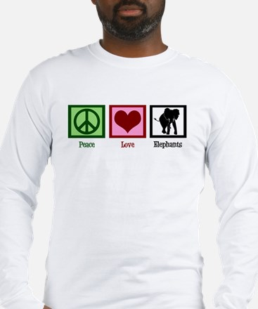 Peace Love Elephants Long Sleeve T-Shirt