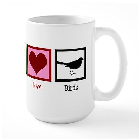 Peace Love Birds Large Mug
