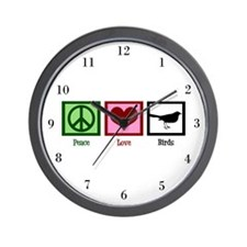 Peace Love Birds Wall Clock