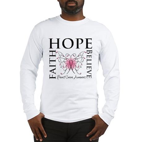 Hope Faith Breast Cancer Long Sleeve T-Shirt