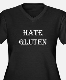 HATE GLUTEN Women's Plus Size V-Neck Dark T-Shirt