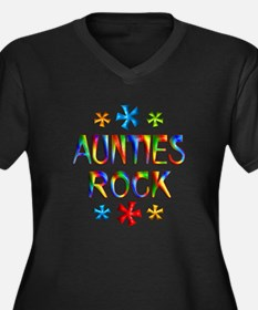 Auntie Women's Plus Size V-Neck Dark T-Shirt