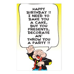 Snuffy Birthday Postcards (Package of 8)