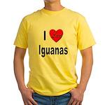 I Love Iguanas (Front) Yellow T-Shirt