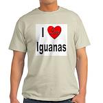 I Love Iguanas (Front) Ash Grey T-Shirt