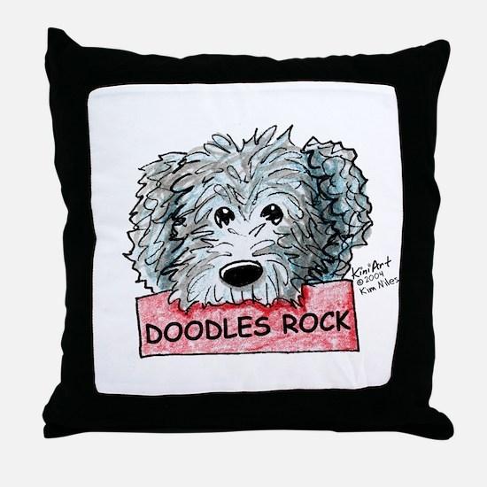 Doodles Rock Sign Throw Pillow