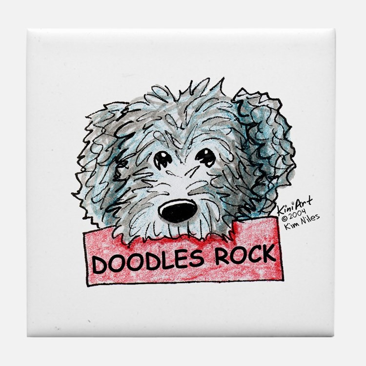 Doodles Rock Sign Tile Coaster