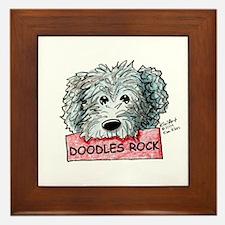 Doodles Rock Sign Framed Tile