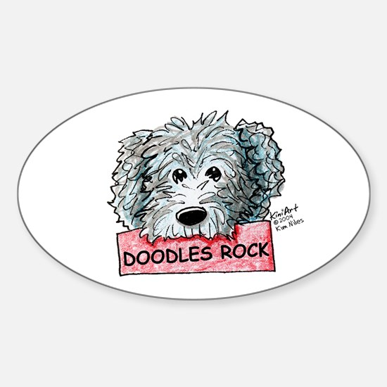 Doodles Rock Sign Sticker (Oval)