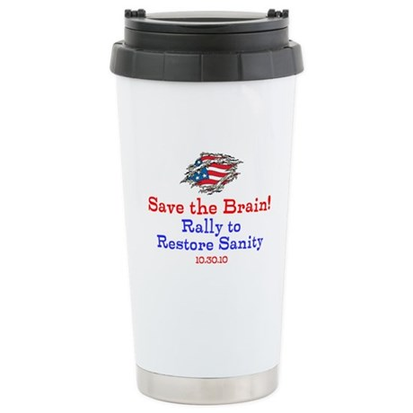 Save the Brain! Torn Flag Stainless Steel Travel M