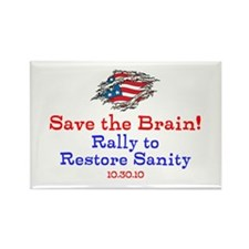 Save the Brain! Torn Flag Rectangle Magnet