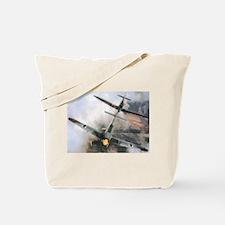 Spitfire Chasing ME-109 Tote Bag