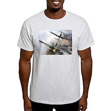 Spitfire Chasing ME-109 Ash Grey T-Shirt