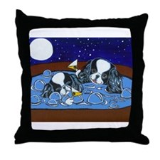 Hot Tub Japanese Chins Throw Pillow