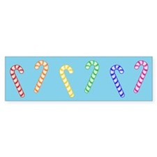 Row Of Rainbow Candy Canes Bumper Sticker