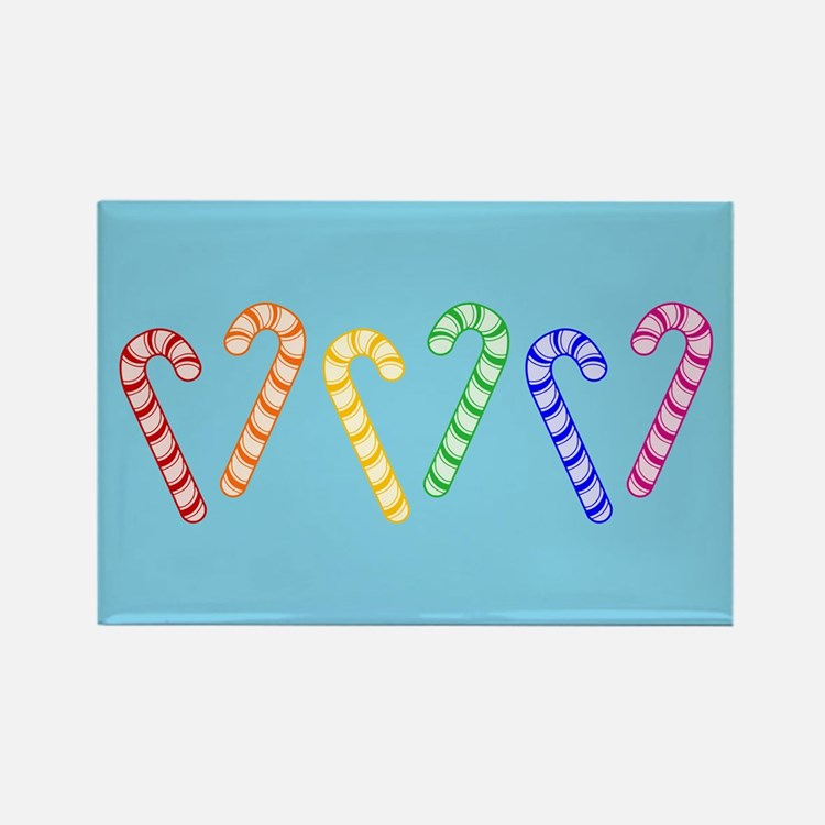Row Of Rainbow Candy Canes Rectangle Magnet