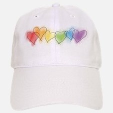 Watercolor Rainbow Hearts Baseball Baseball Cap