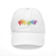 Watercolor Rainbow Hearts Baseball Cap