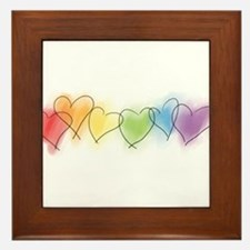 Watercolor Rainbow Hearts Framed Tile