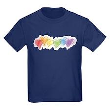 Watercolor Rainbow Hearts T