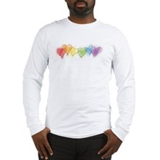 Watercolor Rainbow Hearts Long Sleeve T-Shirt